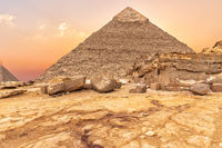 The Pyramid of Khafre and Giza temple ruins, sunset view, Egypt
