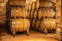 wine in wodden barrels