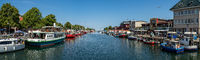 Panoramic view of the berths for ships and the historic quarter of Rostock - Warnemuende.