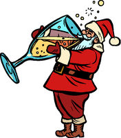 Santa Claus drinks champagne. Christmas and New year