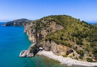 Aerial view of Palinuro coast and natural arch, Italy