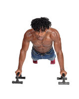 A black man working out with push ups on floor