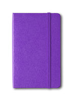 Purple closed notebook isolated on white