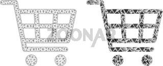 Polygonal Network Mesh Shopping Cart and Mosaic Icon