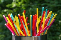 Many colorful straws