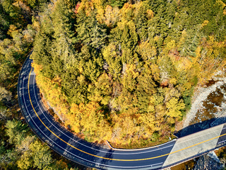 Scenic winding highway in autumn
