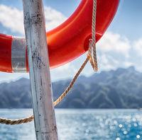 a buoy in boat neat the pacific ocean bokeh