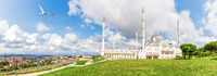 New Camlica Mosque in Istanbul, full view panorama