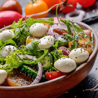 Vegetable salad with mozzarella cheese, lettuce, cherry tomatoes, radish, cucumber, onion and basil in clay dish