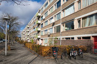 Apartments in residential district Dutch city Utrecht with parked bicycles