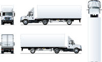 Vector semi truck template isolated on white