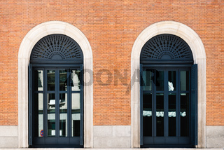 Two doors at the entrance of building