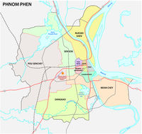administrative and road map of the cambodian capital phnom phen