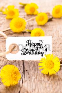 White Label, Dandelion, English Calligraphy Happy Birthday