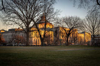 Library of Congress in winter time at sunset.
