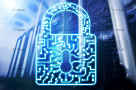 Cyber Security lock icon Information Privacy Data Protection internet and Technology concept
