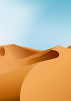 Vertical endless dry desert landscape with sand dunes and clear blue sky, vector illustration.