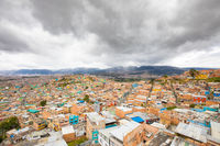 Bogota city southern districts aerial view
