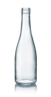 Empty clear glass bottle