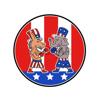 American Donkey and Elephant Boxing USA Flag Doodle