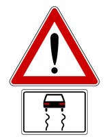 Warnschild mit PKW - Traffic sign with car