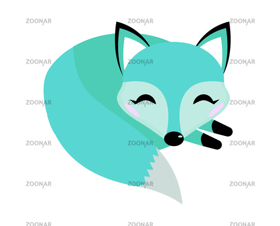 Blue fox icon flat style. Logo concept element. Vector illustration