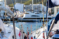 Moored boats in the port of Santa Eulalia.Ibiza