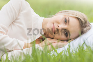 Girl resting on soft pillow