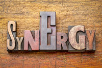 synergy - word abstract in wood type
