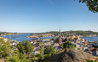 View over Arendal city on a sunny day in june 2018. Arendal is a small town in the south part of Norway