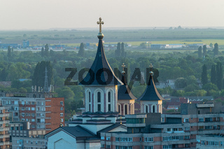 Oradea - Episcopal cathedral viewed from above in Oradea, Romania