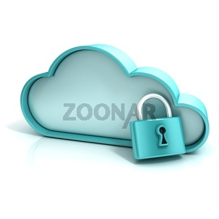Cloud lock 3D computer icon