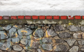 Stone wall covered by snow