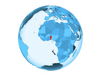 Benin on blue globe isolated