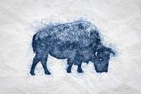 Bull Bison Ballpoint Pen Doodle Illustration