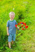 Cute boy in field