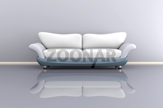 3d illustration of a grey sofa in a grey room.