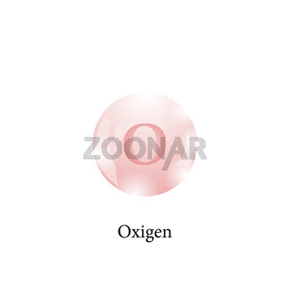 Molecule of Oxigen. Chemical Element of the Periodic Table