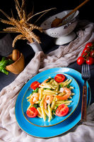 strozzapreti pasta with spinach and shrimp
