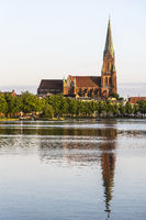 cathedral, Pfaffenteich pond, Schwerin, Mecklenburg-Western Pomerania, Germany, Europe