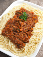 Tasty spaghetti with vegetarian bolognese sauce