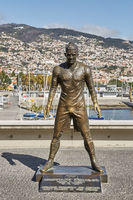 The statue of Cristiano Ronaldo in front of the entry to the Museum CR 7 in Funchal on Madeira, Port