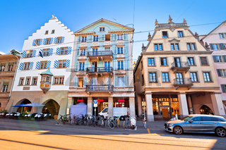 Colorful street of Zurich Swiss architecture view