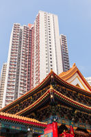 Big residential building and temple in Hong Kong