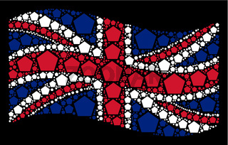 Waving Great Britain Flag Pattern of Filled Pentagon Icons