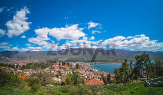 View of Lake Ohrid and town