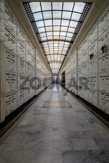Oakland, California - December 7, 2018: Mausoleum corridor at Mountain View Cemetery.