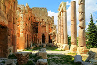 Ruins of Baalbek temple and great court of Heliopolis in Baalbek, Bekaa valley Lebanon