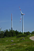 Transmission mast and wind turbine on the Hornisgrinde, Black Forest, Germany,