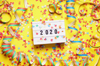 2020 new year celebration flat lay concept with confetti